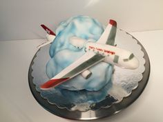 Airplane cake Flugzeugtorte, Wolke mit Flugzeug, cloud with airplane
