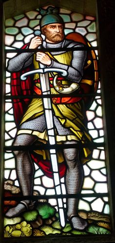 Stained Glass Window at the William Wallace (Braveheart) Memorial near Stirling, Scotland.basically an incarnation of St Andrew. William Wallace, Stained Glass Angel, Stained Glass Windows, Eslava, Wallace Monument, Scotland History, Dark Ages, Dating, Knights