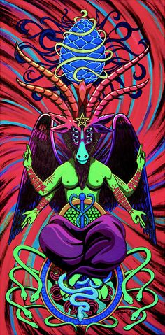 Psychtanic Baphodelic Super Goat On Dmt Painting