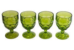 Olive-Green Goblets, S/4 on OneKingsLane.com