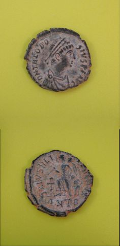 Today on Clio Ancient Art: Roman Empire, Bronze of Theodosius I, AD Antique Coins, Old Coins, Roman Empire, Ancient Art, Bronze, Catalog, Antiques, Money, Signet Ring