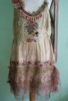 June  bohemian romantic tunic hand embroidered par FleurBonheur, $224.00