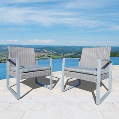 Corvus Alsace Outdoor Grey Wicker Chairs with Cushions (Set of 2) | Overstock.com Shopping - The Best Deals on Sofas, Chairs & Sectionals