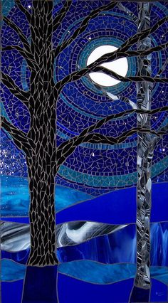 The color blue reduces stress, helping us to feel calm, peaceful, relaxed. Blue brings to mind honesty, trust, loyalty. Blue reminds us of the sky and the ocean. Blue can also describe sadness, depression, frigidity. Which blue do you see in this mosaic named 'Blue Moonlight' by Barb Keith? Do you feel relaxed and stress-free looking at this mosaic, or do you feel sad as your eyes look through the branches of the tree to the moon high in the sky?