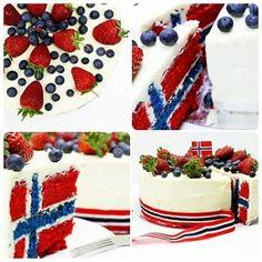 My classic norwegian flag cake / 17e mai kake recipe on my blog! #delliedelicious #norway #food #foodporn #foodprnshare #huffposttaste #go... Norway National Day, Norway Food, Norwegian Flag, Flag Cake, Food To Make, Picnic, Food Porn, Birthday Cake, Baking