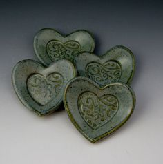 ONE Heart Catcher / 3 1/2 Inch Heart Dish / by TwistedRiverClay, via Etsy.