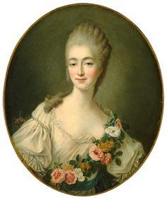 Portrait de Mme du Barry par Drouais -   Commandé en déc 1768, 4 mois après le mariage de Jeanne Bécu avec Guillaume du Barry, portrait officialise la position de  Jeanne avec Louis XV, alors âgée de 26 ans. - Plus tard après la mort du roi, émigrée en Angleterre pendant la Révolution, elle commet l'imprudence de revenir en France en 1793. Arrêtée puis condamnée, elle est exécutée, elle est exécutée le 8 décembre 1793.