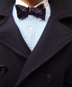 TPP: Preppy winter wear  Bow, Banker collar, and a Pea coat.