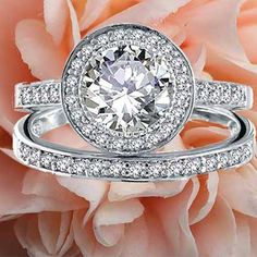 Round Pave Engagement Rings  #blingjewelry