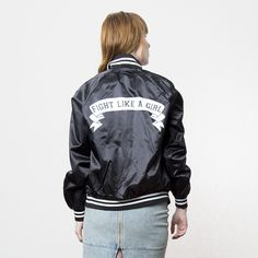 Fight Like A Girl Baseball Bomber // i have never needed anything more in my entire life though????!!!