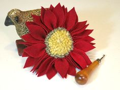 Christmas Red Wool Flower Pin with White Center by DesignsInWool, $22.00