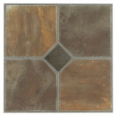 Tivoli  Rustic Slate 12x12 Self Adhesive Vinyl Floor Tile - 45 Tiles/45 sq Ft.
