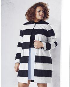 Back in stock!  Plus Size Stripe Coat
