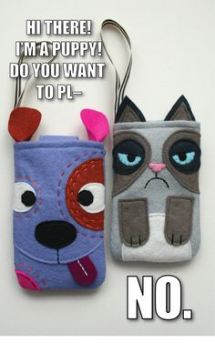 mmmcrafts: dog and cat gadget cozies. Felt sewing pattern