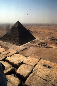 View from the Pyramid of Khafre pyramid of Cheops. Giza.