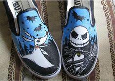 NBC Jack Skellington and Zero Vans Slip On Shoes-Custom Vans Sneakers Hand… Custom Painted Shoes, Painted Canvas Shoes, Hand Painted Shoes, Custom Vans, Custom Shoes, Vans Slip On Shoes, Sock Shoes, Me Too Shoes, Vans Sneakers