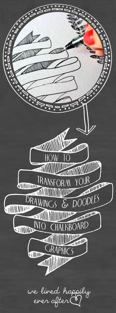 How to transfer your writing, drawings and doodles into chalkboard graphics and printables using Photoshop! - I don't have Photoshop. just pinning because I like the ribbon doodle. Drawn Art, Hand Drawn, Photoshop Tutorial, Photoshop Tips, Photoshop Design, Diy Tutorial, Chalk Art, Coreldraw, Drawing Tips