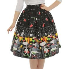 'Marnie' Black Cocktail Bar Print Swing Skirt -  from Lindy Bop UK