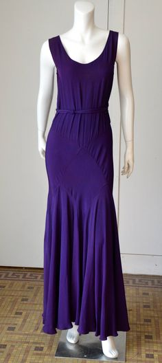 1930s Bias Cut Purple Crepe  Evening Dress | From a collection of rare vintage evening dresses at https://www.1stdibs.com/fashion/clothing/evening-dresses/