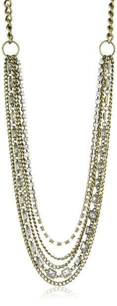 "Leslie Danzis ""Party"" Antique Gold Mult Strand Necklace $39.99"