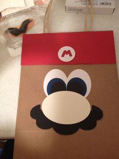 Hand Made Super Mario Birthday Party Gift Bag/Favor Bag