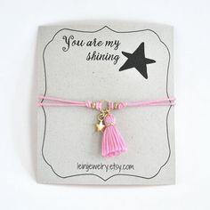 Star bracelet, wish bracelet with tassel charm, gift for friend by LeiniJewelry