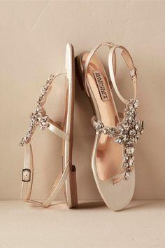 25 Super ideas for bridal shoes flats sandals badgley mischka Ivory Sandals, Shoes Flats Sandals, Flat Shoes, Sparkly Sandals, Flat Sandals, Bridesmaid Flats, Bridesmaids, Bridesmaid Ideas, Bridal Sandals