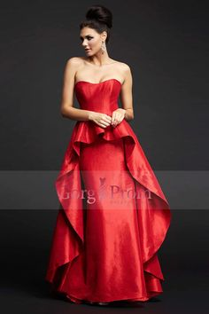 2015 Prom Dresses With A-Line Taffeta Skirt Overlay Sweep Train