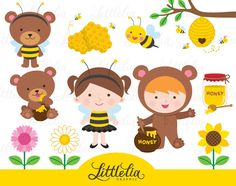 Honey bear clipart - Honey bee clipart - 15043 by LittleLiaGraphic on Etsy https://www.etsy.com/uk/listing/238402043/honey-bear-clipart-honey-bee-clipart
