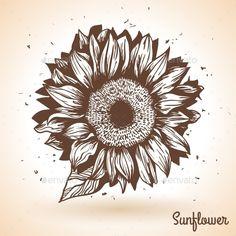 Sunflower in Vintage Style