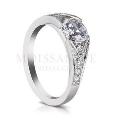 Check out the deal on sholdt twisp split shank forever brilliant moissanite ring with 12 pave set diamond side stones at MoissaniteBridal.com