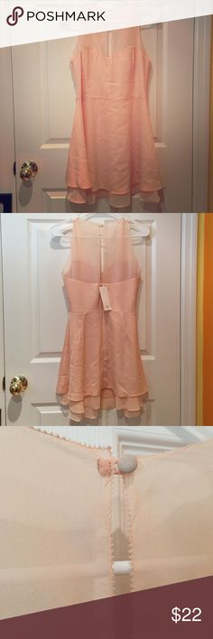 Peach Formal Dress Perfect for a wedding/prom/formal! Never been worn peach dress. Lays right at the knees. Eyelet design in the back. Tobi Dresses Midi