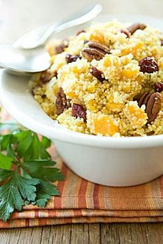 This couscous recipe is full of fall flavors and can make a colorful addition to your Thanksgiving table. Roast the squash ahead of time and the dish will be ready in 15 minutes without taking up any precious oven space.