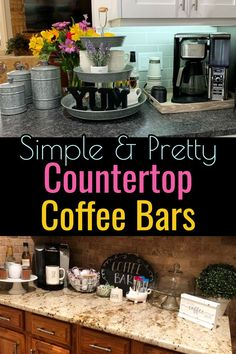 DIY Coffee Bar Ideas – Stunning Farmhouse Style Beverage Stations for Small Spaces and Tiny Kitchens Coffee Bar Ideas! Simple and PRETTY DIY kitchen countertop coffee bar ideas for small kitchens. - Style Of Coffee Bar In Kitchen Coffee Bar Station, Coffee Station Kitchen, Coffee Bars In Kitchen, Coffee Bar Home, Home Coffee Stations, Beverage Stations, Keurig Station, Coffe Bar, Kitchen Bars