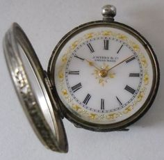 Antiguo Reloj Bolsillo Hermoso Plata Reparar  John Myers & Co Silver Fob Watch