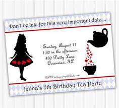 Shabby Chic Princess Garden Tea Party Invitation For Birthdays - Free birthday invitations alice in wonderland