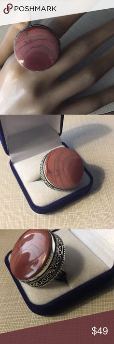 Astonishing Imperial Jasper design ring Astonishing artisan handcrafted antique design stylish elegant classy size 9 main gemstone size is 30/30 mm is silver stamped 925 inlay is Big Bold Beautiful Nwot Jewelry Rings