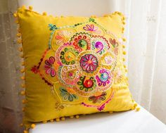 Yellow Turkish Traditional Decorative Pillow by prettysurprise Hand Embroidery Videos, Hand Embroidery Stitches, Hand Embroidery Designs, Cushion Cover Designs, Cushion Covers, Throw Pillow Covers, Traditional Decorative Pillows, Decorative Throw Pillows, Diy Cushion
