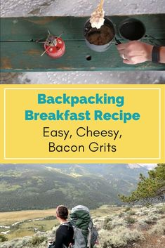 Try out this easy, cheesy, bacon and grits backpacking breakfast recipe. It is a great way to break away from your usual oatmeal and power bar breakfasts on the trail. Hiking Food, Backpacking Food, Hiking Tips, Camping Meals, Camping Recipes, Camping Cooking, Vegetarian Camping, Ultralight Backpacking, Hiking Gear