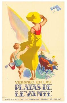PLAYAS DE LEVANTE. Spain Travel Poster. 1941