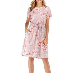 ea68e2af720214 Yidarton Damen Sommer Kleid Kurzarm Blumendruck Patchwork Casual Plissee  Midikleid mit Taschen #Bekleidung #Damen #Tops T-Shirts-Blusen #Tops  #Bekleidung ...