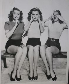 speak no evil, hear no evil, see no evil, vintage style 40s 50s pin up girls in shorts heels tight sweaters vintage fashion style