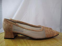 Cork Look Mesh Side Slip On Shoes Van Eli Brown 8.5 N #VanEli #PumpsClassics