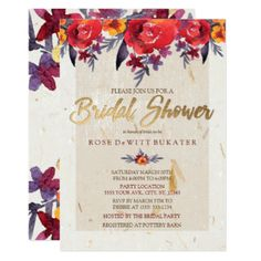 Classic Red & Gold Floral Bridal Shower Invitation