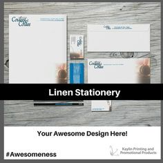 Linen Stationery printed and personalized with your custom imprint or logo.