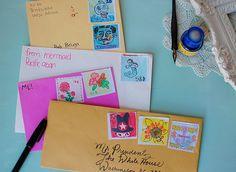 Selber Orte ausdenken an denen man war & Postkarten von dort schreiben mit Fantasiebriefmarken