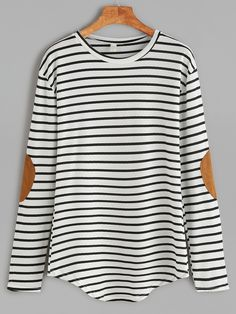 Shop White Elbow Patch Striped T-shirt online. SheIn offers White Elbow Patch Striped T-shirt & more to fit your fashionable needs.