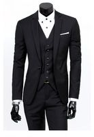 2015 New Men's Three Piece Wedding Dress Suit With Pants Slim Black Jacket Pants Vest 305