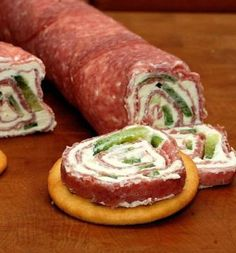 I love salami and cream cheese roll-ups...I love this party sized version!! Skip the cracker to keep it THM