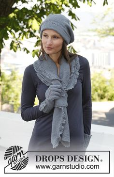 """Knitted DROPS beret and scarf in garter st with lace edges in """"BabyAlpaca Silk"""". ~ DROPS Design"""